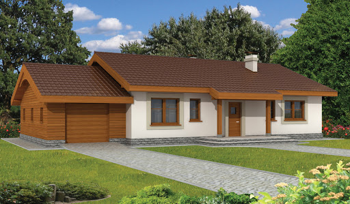 projekt Anulka z garażem w technologii drewnianej