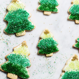 Ombre Christmas Tree Cookies.