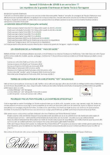 Photo: Le programme détaillé de la dégustation de Chartreuse du 9 octobre 2010 aux caves Bossetti à Paris. Retrouvez le compte-rendu de cette journée sur le blog...
