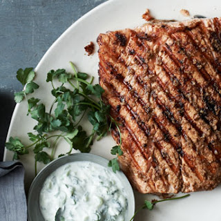 Grilled Salmon with Indian Spices and Raita.