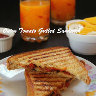 Onions Tomato Grilled Sandwich.