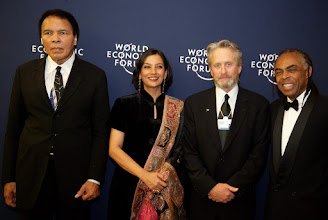 Photo: DAVOS/SWITZERLAND, 28JAN06 - FLTR: Muhammad Ali, Former Heavyweight-Boxing Champion, Greatest of All Time (GOAT), USA, Shabana Azmi, Actress and Social Activist, India, Michael Douglas, Director, Producer and Actor, USA and Gilberto Gil, Minister of Culture of Brazil captured at the Presentation of the Crystal Awards at the Annual Meeting 2006 of the World Economic Forum in Davos, Switzerland, January 28, 2006. 
