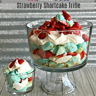 Red, White and Blue Strawberry Shortcake Trifle.