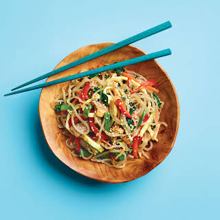Japchae (Korean Glass Noodle Stir-Fry).