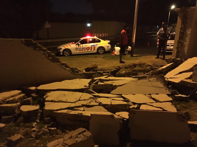IN PICTURES | Driver crashes through wall in Sandton