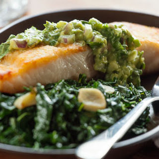Pan-Seared Paiche with Spicy Avocado Sauce and Greens Recipe