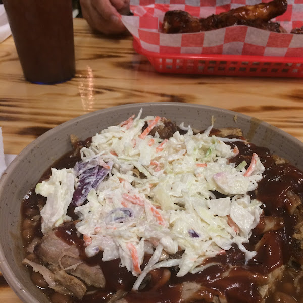 The Pig Bowl; baked beans, pulled pork, and cole slaw.