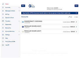 Screenshot of SF Police CU Mobile Banking
