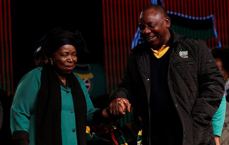 Nkosazana Dlamini-Zuma and Cyril Ramaphosa ahead of the African National Congress 5th National Policy Conference at the Nasrec Expo Centre in Soweto, on June 30, 2017.