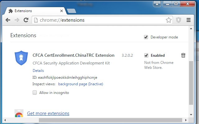 CFCA CertEnrollment.ChinaTRC Extension