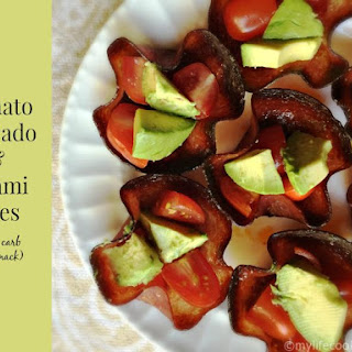 Tomato Avocado and Salami Bites (a low carb Paleo snack).