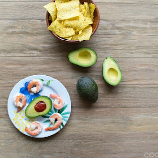 Shrimp Cocktail with Mexican Cocktail Sauce in Avocados