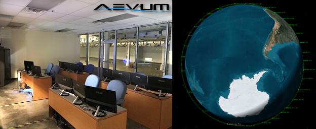 ANSYS Центр моделирования полетов компании Aevum (слева) и демонстрация запуска группировки из 30 спутников (справа)