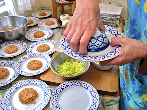 Photo: inverting the filled bowl onto an individual serving plate