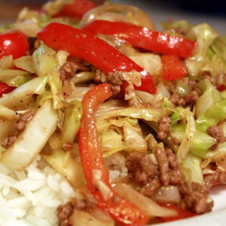 Black Pepper Beef and Cabbage Stir Fry.