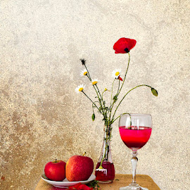 reddish by Enver Karanfil - Artistic Objects Still Life ( apple, flowers, tulip, daisy, applewine, wine )