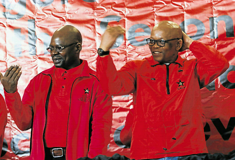 Solly Mapaila, left, with Xolile Nqatha at the SACP gathering at the Orient Theatre in East London