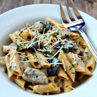 Creamy Pasta with Chicken and Mushrooms in Blue Cheese Sauce.