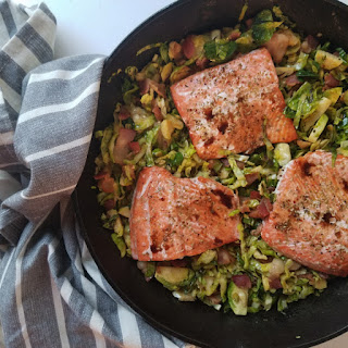 SALMON WITH SHAVED BRUSSEL SPROUTS AND BACON