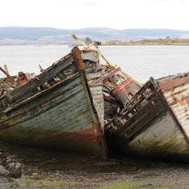 2 old boats past their sell by date by Janet Matthews - Transportation Boats (  )