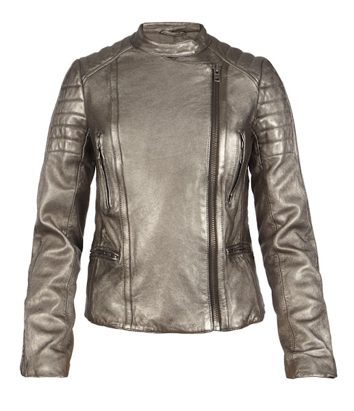 Photo: Metallic Colby Leather Jacket>>  UK>http://bit.ly/MbMtNj US>http://bit.ly/M6bKKB  Authentic leather biker jacket made from metallic Italian lambskin. Influenced by classic biker jacket details this style features panelling at the shoulders, sleeve, elbow patches and back waistband. The Metallic Colby Jacket has zip pockets, zip detailing on the sleeves and hem, and press studs at the collar. This style is fully lined with 100% cotton in contrast colour at the body and viscose at the sleeves.