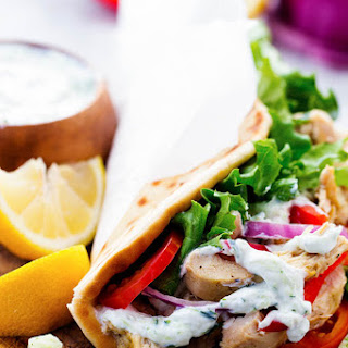 Slow Cooker Greek Chicken Gyros with Tzatziki
