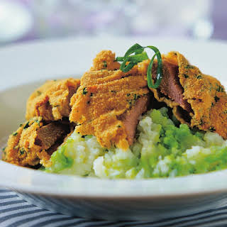 Veal Cutlets with Potato Pea Mash.