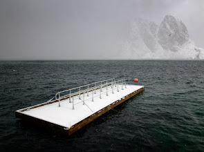 Photo: Near Reine, Lofoten, Norway  Here I was, in my so much dreamt of Lofoten in the middle of winter, standing on the edge of the snow storm that approached unexpectedly and abruptly. The water got dark, the sky whitened. The birds flew faster, while I got stoned. Fascinated by the pace my surroundings had changed, into an unknown to me cold and dull mood, yet full of energy.The same way it all disappeared some half an hour later. This is Nordics and this is why I love it so much.
