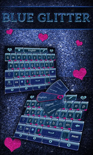 Blue Glitter Keyboard