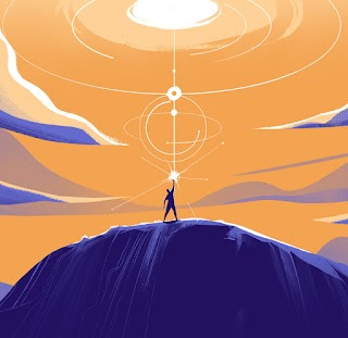 An illustration of a person on a dark purple mountain against an orange sky with clouds. The person stands straight up with their arm in the air while light shoots out above them into the sky.
