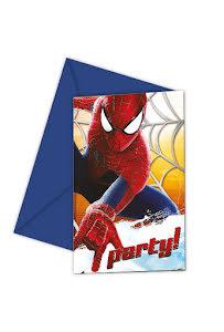 Spiderman inbjudningskort, 6 st