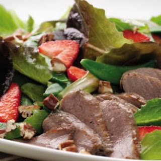 Duck & Strawberry Salad with Rhubarb Dressing.