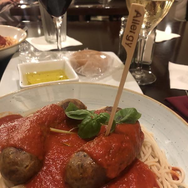 Gluten free spaghetti and sweet italian sausage