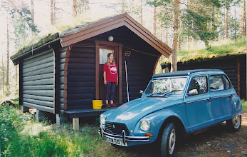 Photo: eNot the best place to stay... The log cabin near the border with Sweden.. Mosquitoes enjoyed taking big chunks out of Nicki here.