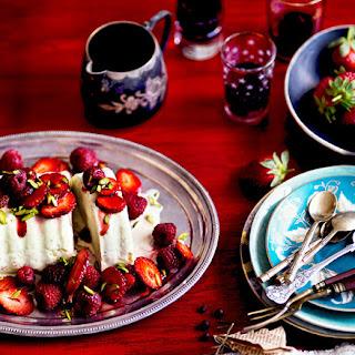 Pistachio Ice-cream Cake With Red Summer Berries.
