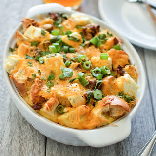 Sausage Breakfast Bagel Strata.