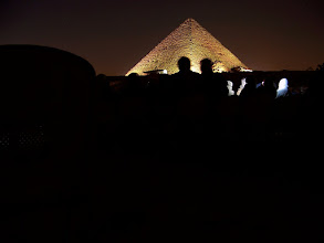 Photo: It got dark after the camel ride because we went to the Sound and Light show afterward.  I used a long exposure to get some shots of the lighted up pyramids.