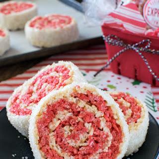 Peppermint Rice Krispies Pinwheels