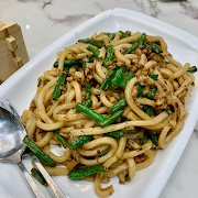 77. Pan Fried Udon with Olive and Green Bean