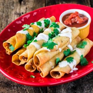 Creamy Chicken Taquitos with Salsa Roja
