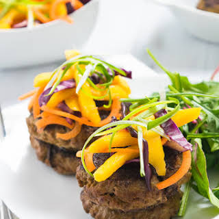 Curried Beef Burgers with a Mango Cabbage Slaw.