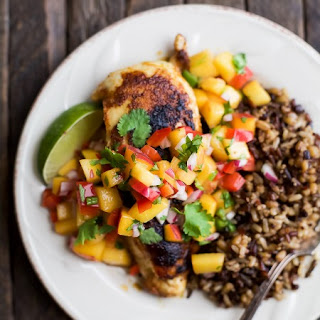 Pan Seared Chicken with Peach Salsa.