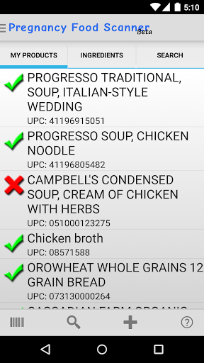 Pregnancy Food Scanner Screenshot