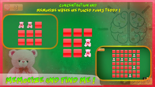 Teddy bear kids memory puzzle