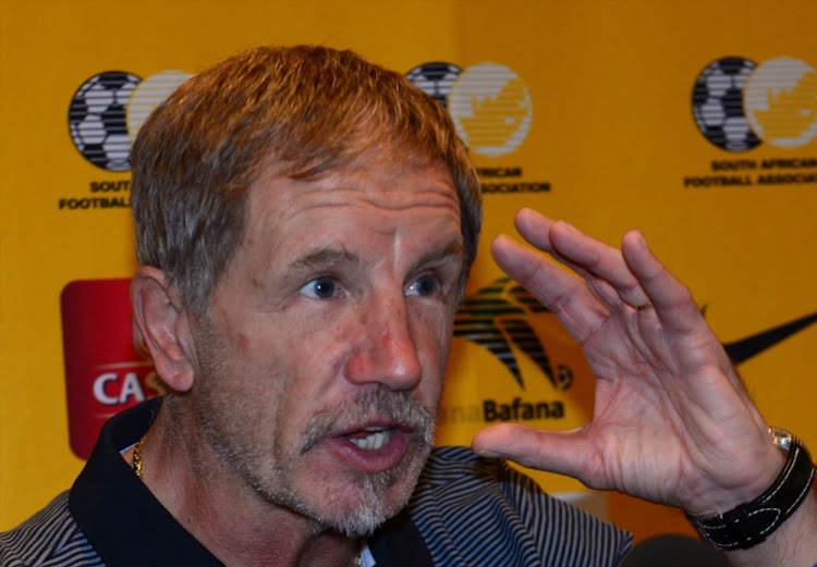 Stuart Baxter during the South African national mens soccer team press conference at Southern Sun Montecasino on October 02, 2017 in Johannesburg.