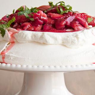 Roasted Rhubarb and Strawberry Pavlova