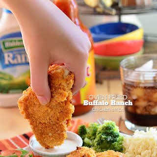 Crispy Oven Fried Buffalo Ranch Chicken Strips.