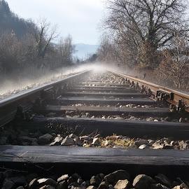 Утро by Georgi Kolev - Transportation Railway Tracks ( мъгла., хълмове., камъни., дървета., релси. )