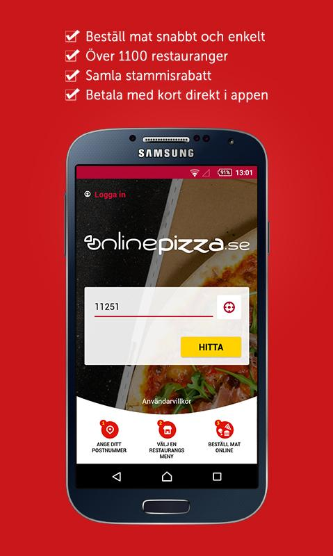 OnlinePizza food delivery app- screenshot