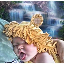 THAT tired by Paul Gibson - Digital Art People ( waterfall, digital art, sleeping, baby, hat )
